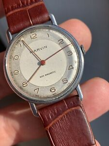 1950s Vintage Marvin Two Tone Fixed Lugs Mens Watch 33,2mm Cal. 565 Swiss Made
