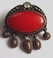 broche collection cabochon rouge  pampille bijou vintage couleur bronze 3413