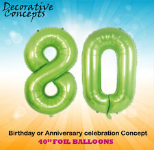 """Giant 80th Birthday Party 40"""" Foil Balloon Helium Decoration Age 80 Lime Green"""