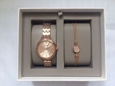 NEW AUTHENTIC FOSSIL MOTHER OF PEARL ROSE GOLD WOMEN'S BQ3078 WATCH SET