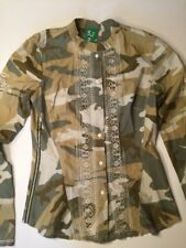 3J Workshop Johnny Was Camouflage Embroidered LS Shirt Size Small