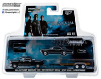 1:64 GreenLight *HITCH & TOW* SUPERNATURAL Silverado Impala & Car Trailer *NIP*