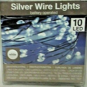10 er LED Mikro Lichter Draht  Batterie inclusive   Silber wire Lights  89