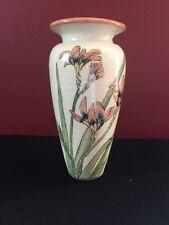 "1982 Santa Barbara Ceramic Design 7"" Vase with Day Llilies by Margret Gilsen"