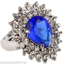 KENSINGTON COLLECTION RHODIUM PLATED BLUE & WHITE CLUSTER RING - Sz P (New/Bxd)