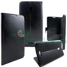 Custodia BOOKLET NERA pelle per Huawei Ascend Mate 2 stand+tasche porta schede