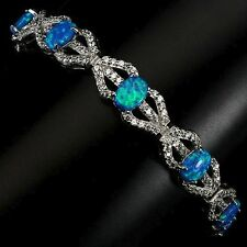75.15 CT.BLUE BASE WITH AAA FIRE GREEN LUSTER OPAL 925 SRERLING SILVER BRACELET