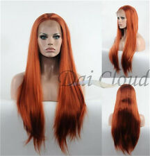 Copper Red Lace Front Wig Long Straight Wigs Half Handmade Synthetic Wigs New