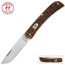 Kissing Crane Amber Bone Folding Pocket Knife KC5379 NEW Sodbuster Farmer