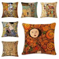 "18"" Cotton Linen Fashion Vintage Gustav Klimt Pillow Case Waist Cushion Cover"