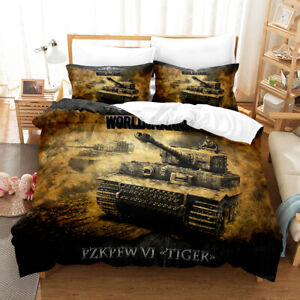 Military Tank Bedding Set Quilt Cover Duvet Cover Double Pillowcase Weapon