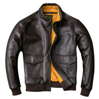 2020 Men Calf Skin Leather Jacket Military Pilot Air Force Flight coat outwear