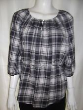 COUNTRY ROAD Womens 3/4 sleeve Black checked Shirt size S