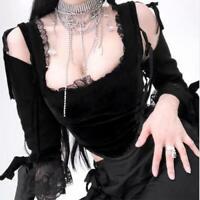 M Black Velvet  Bell Sleeve Gothic Top /'The Dark Angel/' NEW L S