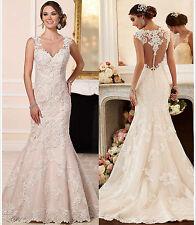 2017 White/Ivory Mermaid Appliqued lace mermaid wedding dress custom made