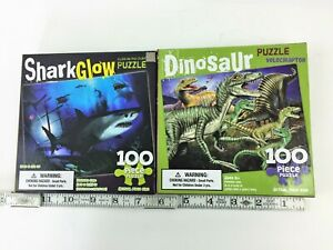 Kids SHARKS & DINOSAURS 100 piece puzzle LOT Educational Fun VELOCIRAPTOR New