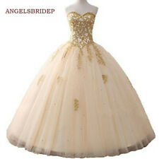 Champagne Quinceanera Party Evening Wedding Ball Gown Bridesmaid Dress Plus Size