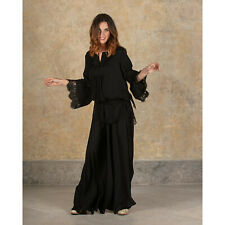 Blusa da Donna Elegante Nera Antica Sartoria Positano Pizzo Estiva Vestito Abiti