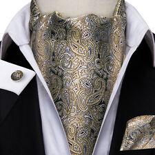 Mens Silk Ascot Beige Yellow Grey Paisley Cufflinks Hanky Cravat Set  Vintage