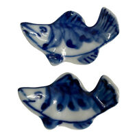 Vintage 2 Japanese Porcelain Chopstick Rest Holders Flow Blue/White Curved Fish