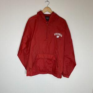 University Of Wisconsin Badgers Men Large Vintage 90s Hooded Rain Jacket NCAA