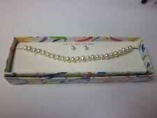 Pearl Bracelet and Earrings Set, Sterling Silver