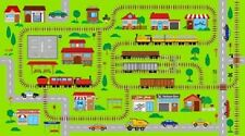 CONNECTOR PLAYMATS TRAIN STATION RAILWAY BUSES CARS TOWN FABRIC PANEL