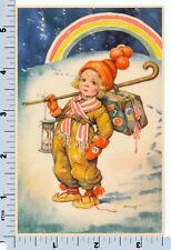New Year Postcard - Artelius Scandinavian Card - Rainbow Boy with Hourglass
