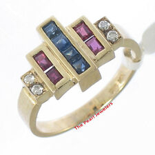 14k Solid Yellow Gold Genuine Diamond, Square Sapphire & Ruby Band Ring TPJ