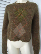 BANANA REPUBLIC Sweater M Pullover Wool Mohair Blend Crop Crewneck Argyle