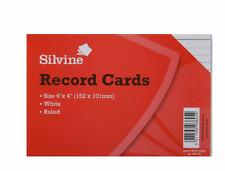 """Las tarjetas de registro Silvine 6"""" X 4"""" (152 x101 mm) Blanco gobernado 100 Tarjetas"""
