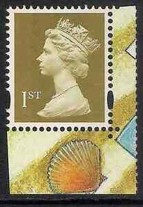 GB 2008 sg1672 1st Gold litho 2 bands prestige booklet stamp MNH