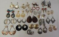 Lot of 23 Pair of Vintage Retro Pierced Earrings - Chunky Dangle Geometric Mod