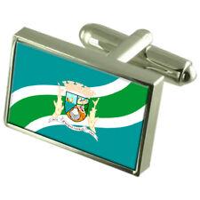 Rio Das Ostras City Rio De Janeiro State Flag Cufflinks Engraved Box