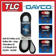 Dayco Fan Belt & Pulley Roller Kit Jeep Cherokee KJ 2.8 Diesel ENS 01/03 - 02/08