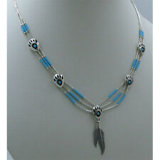 3 Strand .925 Liquid Sterling Silver Natural Turquoise Bear Paw Claw Necklace