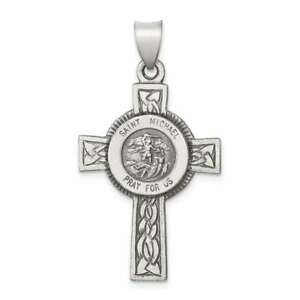 Sterling Silver Antiqued, Textured & Polished St. Michael Pendant