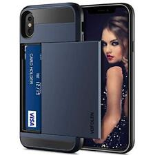 iPhone XS Max Case Dual Layer Armor Drop Protective Hard Cover Card Holder Blue