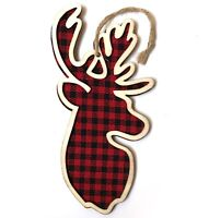 Wood Deer Head Buffalo Plaid Christmas Tree Ornament Country Cabin Lodge Red