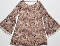 XHILARATION Womens Paisley Multicolor Top Size S Long Bell Sleeve Lined Blouse