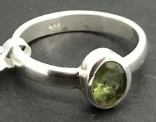 Real Peridot oval solid Sterling Silver ring, UK size K (small), UK seller.