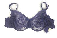 Vintage Victoria Secret Bra 36D Lace Underwire Purple 80s 90s USA