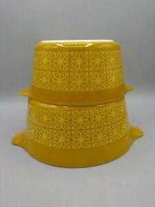 Vintage PYREX Autumn Floral Gold Square Flower Casserole Dish 472 473 No Lids
