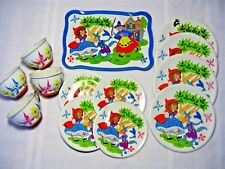 VINTAGE 1950s OHIO ART TIN LITHO DISHES LITTLE RED RIDING HOOD – COMPLETE 13 pc.