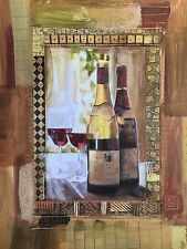 Perfect Vintage Wine Bottles and Wine Glasses Print 16 x 20