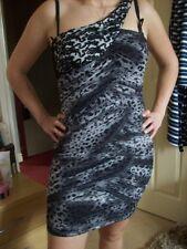 Size 8 - 10 Party Dress Stunning Grey Animal Print Chiffon One Shoulder Mini