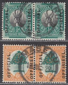 South Africa used Basutoland 1926 KGV Official ½d 6d Pairs Used SG O2 O4 c£100++