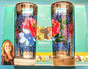 Pioneer Woman Melody Coolers  Floral, Glass Unopened NEW 4 Pack 16 oz