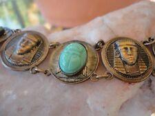 Vintage 1930s Egyptian King Tut Luxor Bracelet - Green Milk Glass & Brass