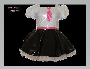 Unisex pvc school  dress Fancy dress sissy lolita cosplay